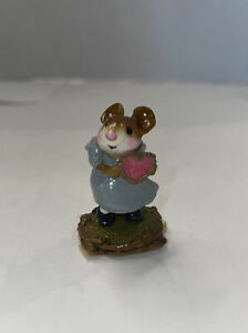 Rare Vintage Wee Forest Folk Girl Sweetheart Blue Mouse Pink Heart Retired 2000
