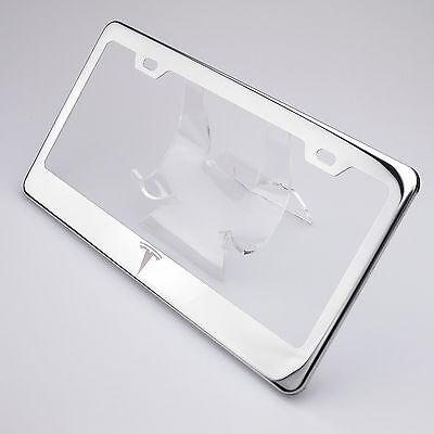 New Tesla Logo Laser Engraved Chrome Stainless Steel License Plate ...