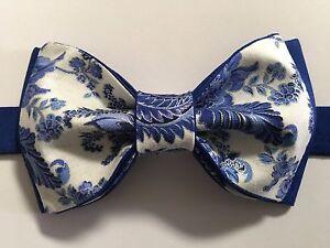 4c094311ebcd Custom Mens Blue/White Floral Bow Tie Pre-tied Adjustable Handmade ...