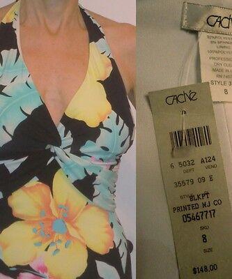 NWT $148 MULTICOLOR CACHE FLOWER DESIGN STRECHY HALTER SUMMER COCKTAIL DRESS 6 8