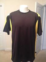 Large Mens Pro Celebrity Workout Shirt Black Yellow