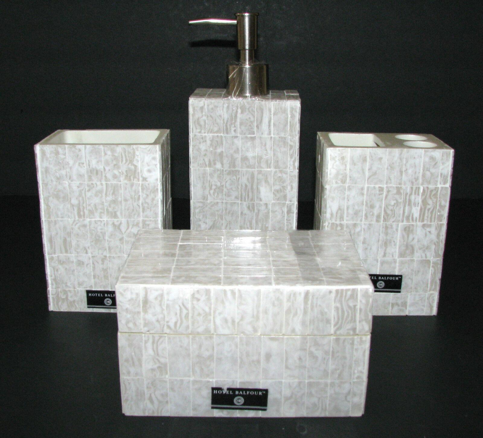 Neu 4PC Hotel Balfour Künstlich Marmor Harz SpenderZahnbürsteBecher  Ovp   | Billiger als der Preis