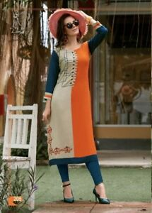 Audacieux Brandverto Indian Women Exclusive Bollywood Rayonne Long Kurti Stitch Pattern 05-afficher Le Titre D'origine Construction Robuste