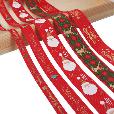 5yards//Roll Satin Ribbon Gift Wrapping Merry Christmas Happy New Year Craft DIY
