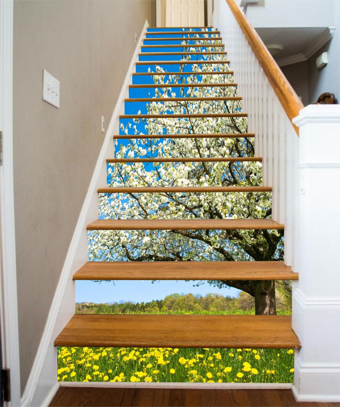 3D Baum Blume 634 Stair Risers Dekoration Fototapete Vinyl Aufkleber Tapete DE