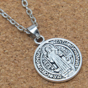 Saint-St-Benedict-Medal-Antiqued-Silver-Alloy-Charm-Pendant-Necklace-24-034-Chain