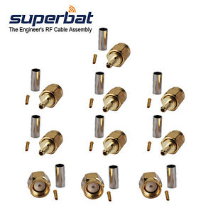 Eightwood 10pcs SMA Male Crimp Right Angle RF Coaxial Connector for RG316 RG174 LMR100 Cable