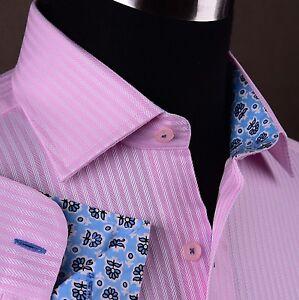 Pink-Herringbone-Dress-Shirt-Formal-Business-Luxury-Twill-Floral-Designer-Style