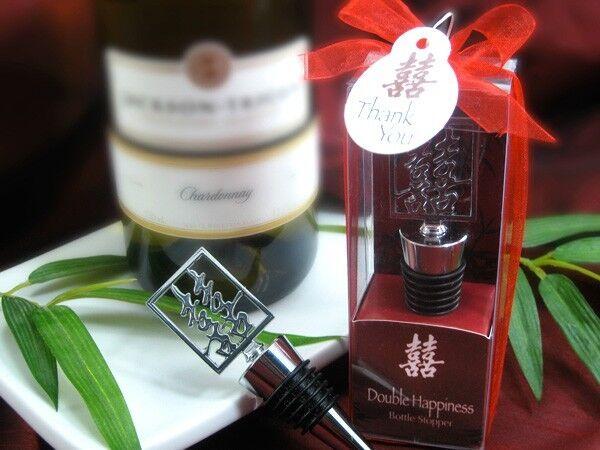 Double Bonheur Asiatique Shuang XI bouteille de vin bouchon Mariage Faveur