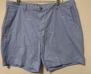 Vineyard-Vines-Breaker-Shorts-Men-s-SZ-40-Blue-With-Fish-Embroidery