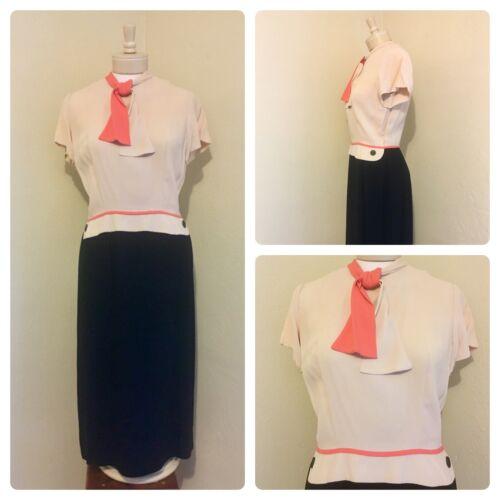 1940's RARE Vintage Lt Pink, Coral, Black Color Bl