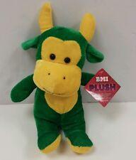 "New BMI Plush 8"" Green & Yellow Cow Stuffed Farm Animal Toy"