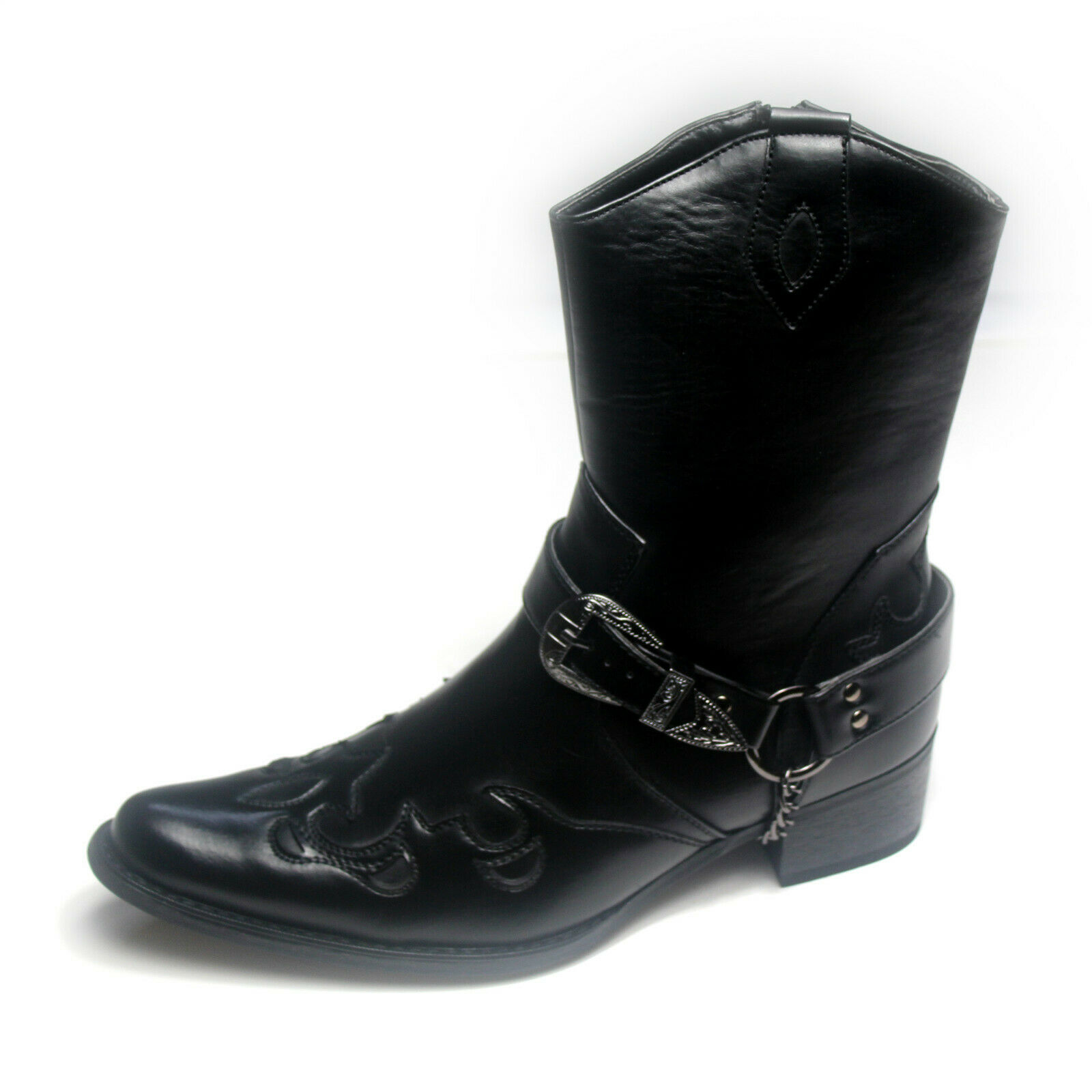 Mens Gents Western Style Casual Party Cowboy Boots Black Size 6 7 8 9 11 12