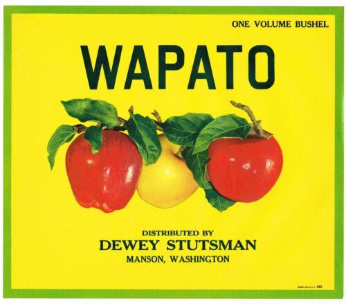 ORIGINAL CRATE LABEL VINTAGE APPLE MANSON WAPATO SCARCE 1950S DEWEY STUTSMAN