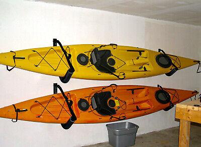 3Pairs Kayak Steel Ladder Wall Mount Storage Rack Surfboard Canoe Folding Hanger