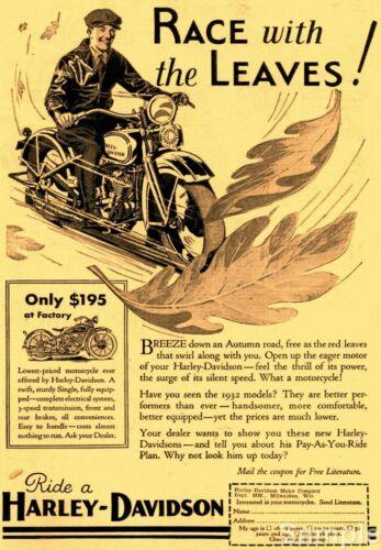 Vintage Harley Davidson Motorcycle Race Advertisement Poster Art Reprint A4