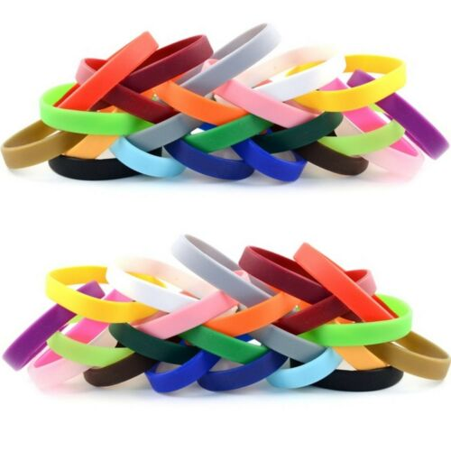 100 Silicone Wristbands Blank NEW Rubber Wrist Band Bracelets Free Shipping USA