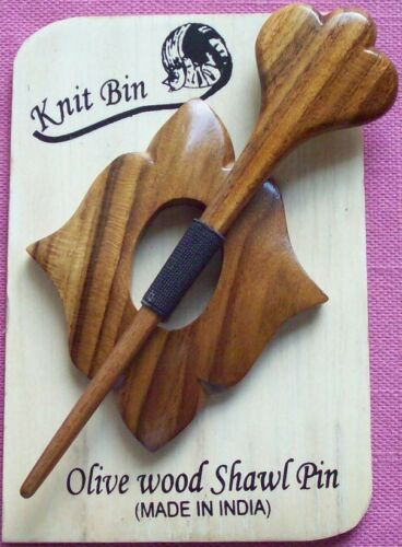 Carved Olive Wood Shawl Pins; Choice of Designs