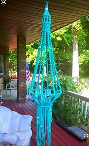 Plant Hanger Macrame in turquoise Large