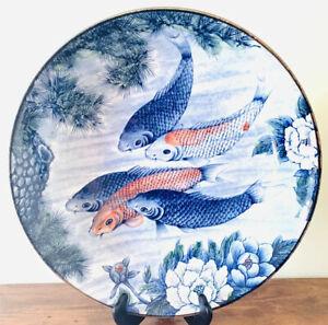 Vintage-Andrea-by-Sadek-Koi-Fish-Lotus-Blossoms-Large-Serving-Bowl-14-5-W-3-5-H