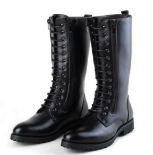 Men/'s Punk Lace Up Mid Calf Boots Military Combat Ridding Knee Boots Shoes