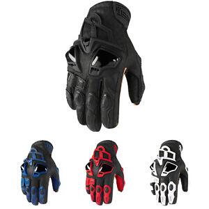 Black Icon Motosports HYPERSPORT Short Leather Riding Gloves Choose Size