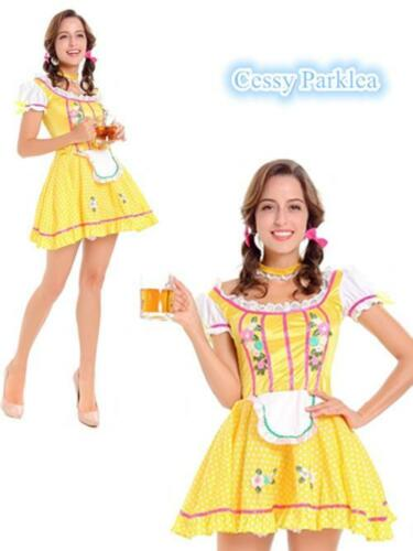 Yellow Bavarian German Leiderhosen Beer Maid Oktoberfest Wench Costume