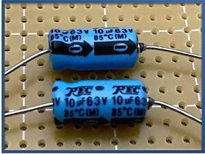 CONDENSATORI ASSIALI ELETTROLITICI SSC 220 uF 63 V ORIZZONTALI 85 GRADI AUDIO