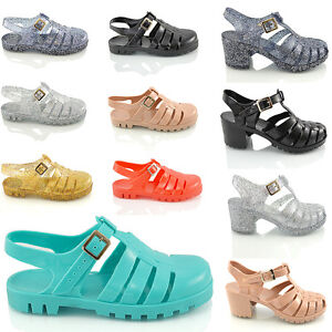 Ladies-Womens-Girls-Retro-Jelly-Sandals-90-039-S-Buckle-Beach-Flip-Flops-Shoes-Size