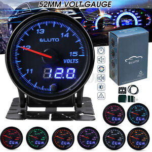 Manometro-Digitale-LED-Voltmetro-Volt-Gauge-52mm-12V-Auto-10-Colori-Turbo