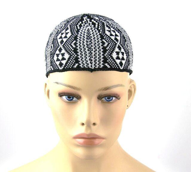 9f85d3ff720 YVES SAINT LAURENT YSL 100% COTTON BEANIE HAT CAP BLACK WHITE ITALY SIZE M  NEW