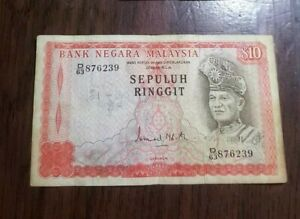 Malaysia 3rd Series $10 Ringgit (GVF stains,pen mark)