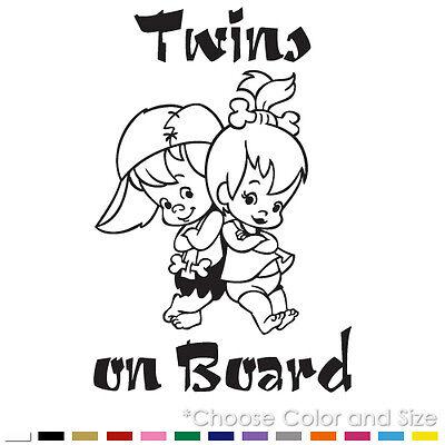 TWINS ON BOARD BABY BOY GIRL FLINTSTONES CAR WINDOW VINYL DECAL STICKER (BB-11)