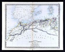 1866 SDUK Map - Ancient Libya Mauritania Morocco Numidia Alger Carthage Africa