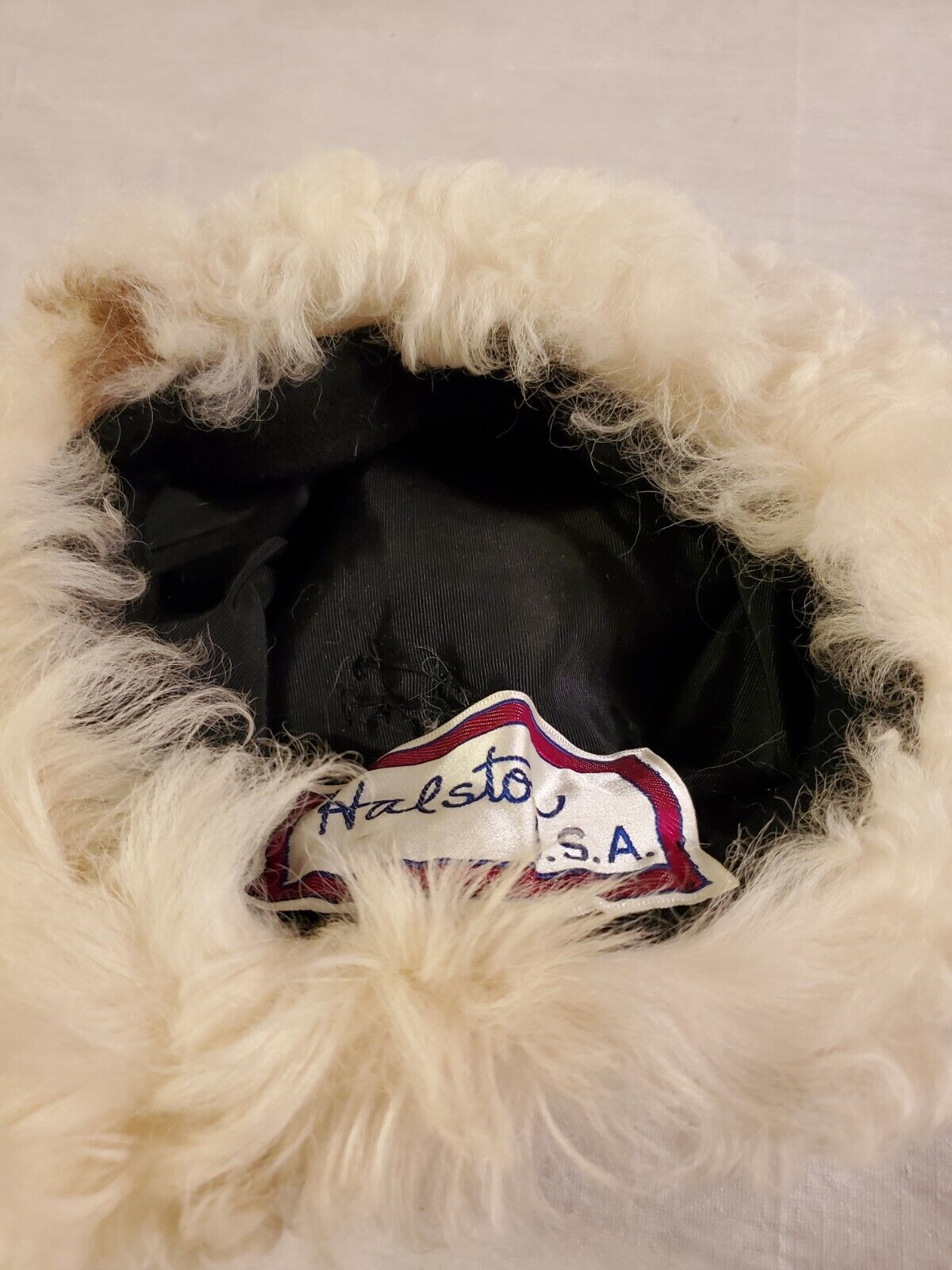 HALSTON HAT Shearling Mongolian Lamb With pompom … - image 5
