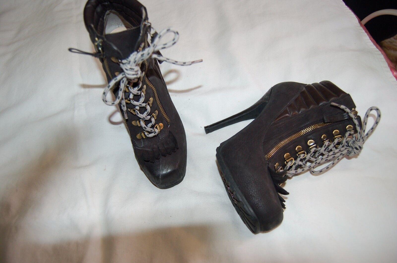 Boutique 9 Black Suede Steam Punk Ankle Heels Boots Size 8 1/2