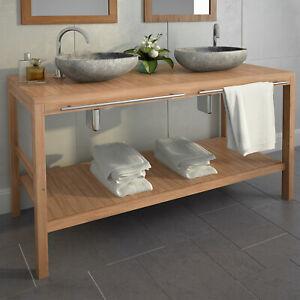 Détails sur vidaXL Bois de Teck Massif Meuble de Salle Bain Vasque Toilette  Multi-taille