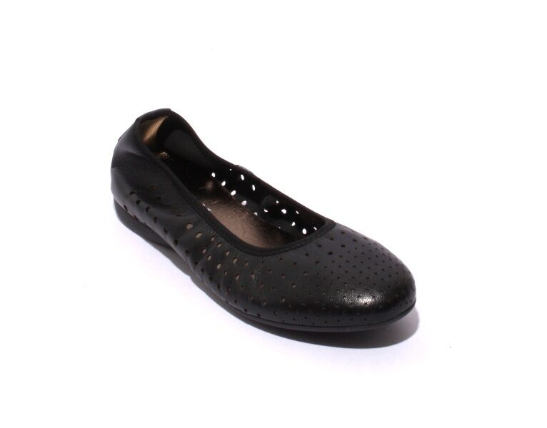 Mally 5663 Black Soft Perforated Leather Comfortable Ballet Flats 35 / US 5