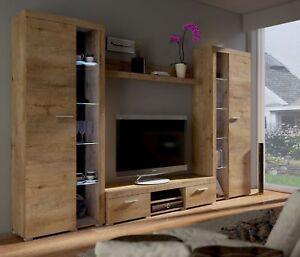 Dettagli su Set di Mobili Soggiorno Muro Mensola Supporto TV moderno  effetto rovere chiaro- mostra il titolo originale