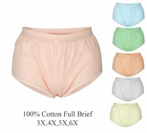 22 24 26 28 30 32 34100/% Plus Size Cotton Full Brief Women H-B04