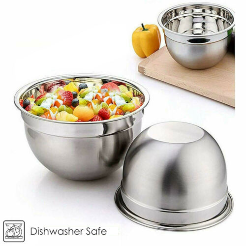Set of 3 MIXING BOWL SET Stainless Steel 18//22//26cm Small Large Deep Metal Dish