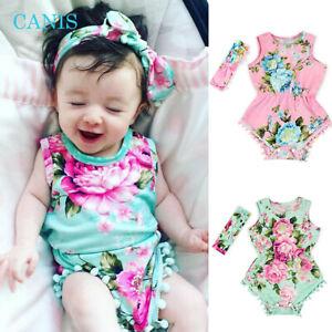 Newborn Baby Girl Summer Flower Ruffle Romper Bodysuit Jumpsuit Outfits Sunsuit