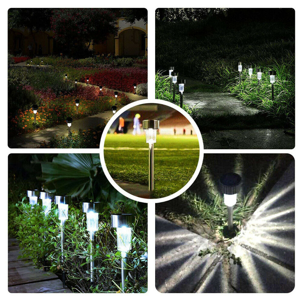 24 Garden Outdoor Stainless Steel Solar LED Landscape Path Lights Lamp New USA