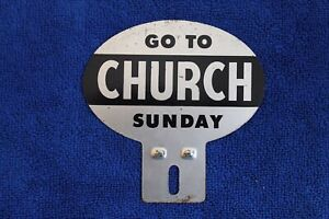 Go-To-Church-Sunday-License-Plate-Topper-Badge-Accessory-Grille-Clergy
