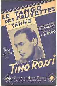 LE-TANGO-DES-FAUVETTES-par-Tino-ROSSI-1946-SHEET-MUSIC-partition-Free-Ship