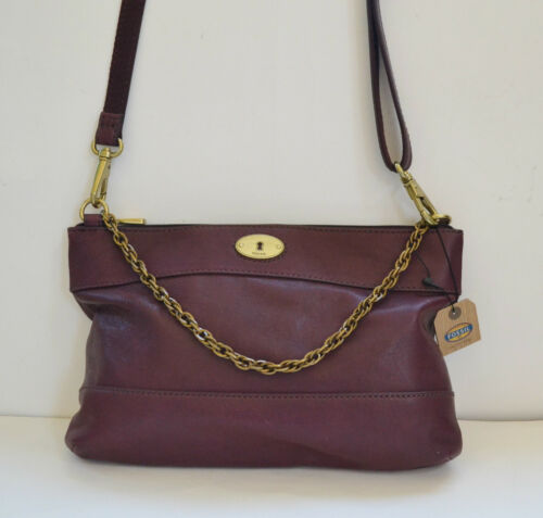 NEW FOSSIL LEATHER JULES ZIP GREEN+MAROON PURSE,CROSSBODY,CHAIN HAND BAG