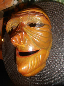 Um 1900 - Fratze KüHn Antike Holzmaske Hexe