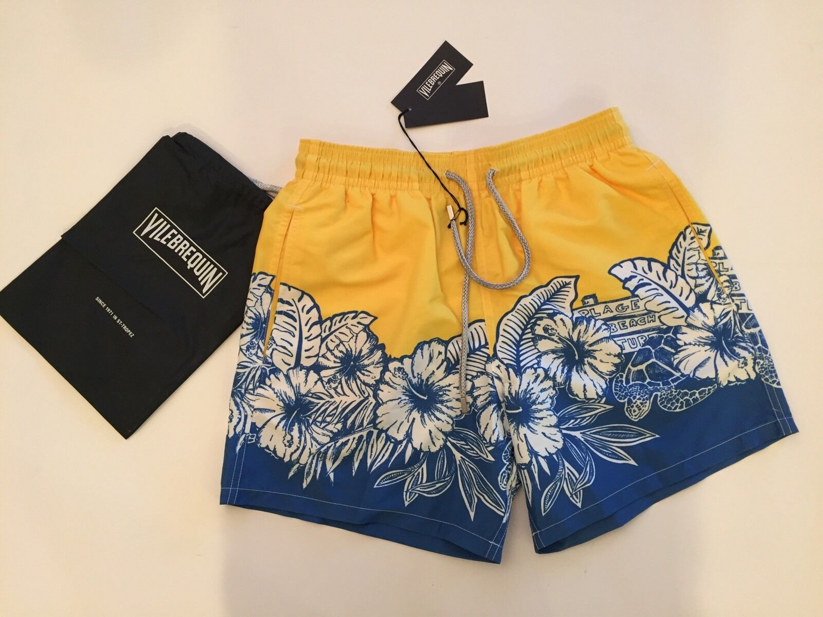 New w Tags & Bag Authentic Vilebrequin Moorea Yellow Swim Trunks - Men XL