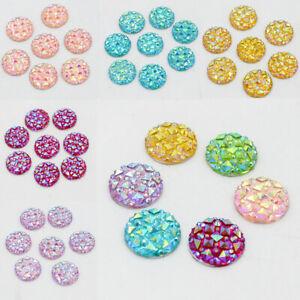 50PCS 12mm Flat Back Round Resin Rhinestones Crystal Beads DIY Decoration