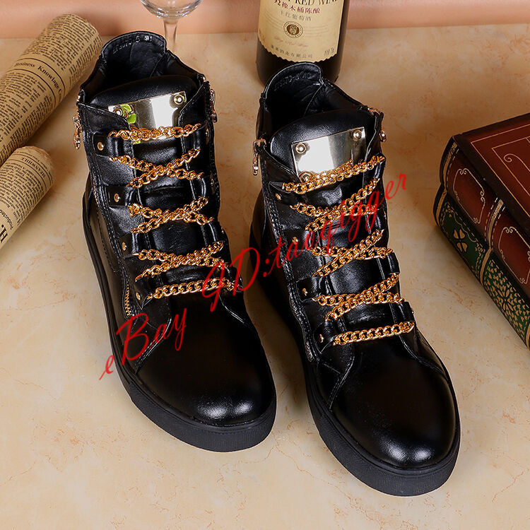 Mens High Top Leather Fashion Sneakers Metal Chain Flats Leather board shoes new